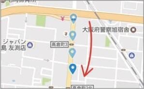 車の動きに合わせて地図が移動