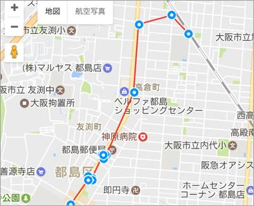 自動検索型GPS移動履歴確認表示画面