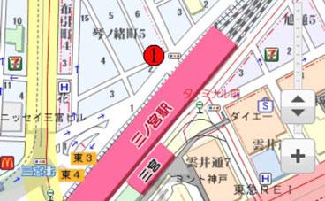 自己検索型GPS発信機の検索後の位置履歴表示画面