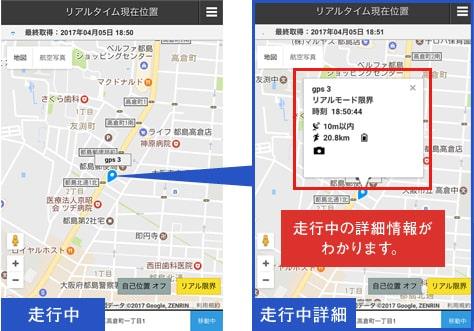 GPSnextの現在位置の表示画面