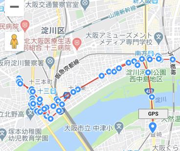 GPSがホテル周辺を走っている