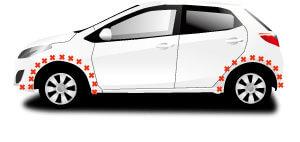 車のタイヤ周辺、赤バツマークはGPSは取り付けできない