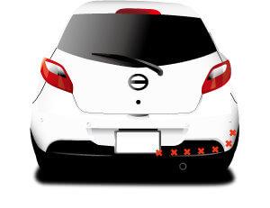 車後部のマフラー周辺、赤バツマークはGPSは取り付けできないイラスト