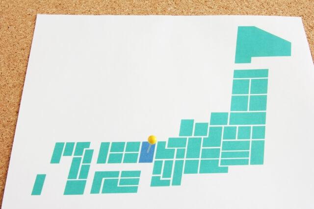 日本地図、兵庫県に矢印
