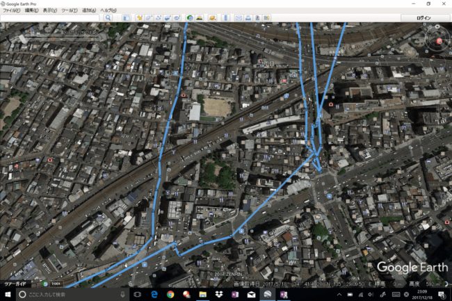 GPSロガーの実際の移動履歴の画像