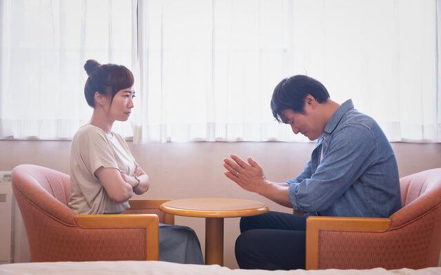 (肯定した場合)2人で解決策を話し合い浮気について妻に謝罪するご主人